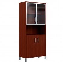 Шкаф высокий с малыми стеклянными дверьми в AL рамке и глухими
