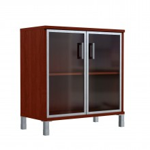 Шкаф низкий со стеклянными дверьми в AL рамке