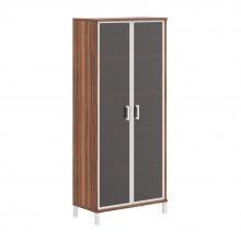 Шкаф высокий со стеклянными дверьми в AL рамке